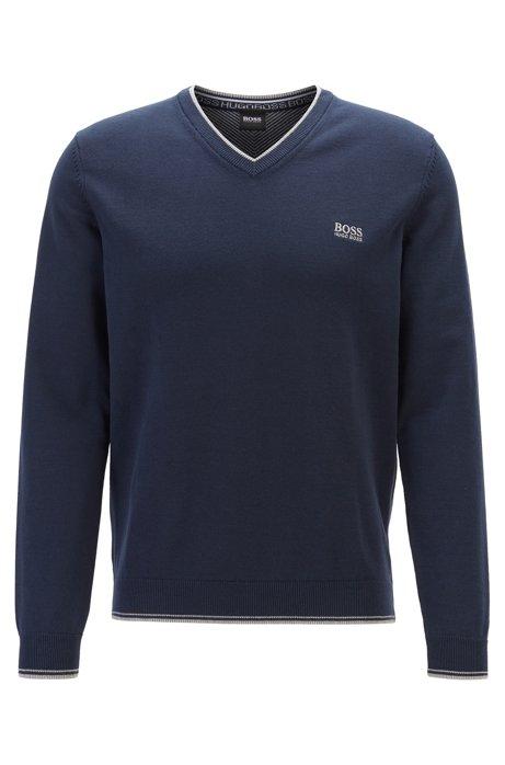 Maglione con scollo a V in misto cotone con dettagli del logo, Blu scuro