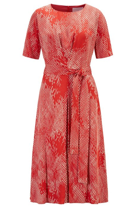 Lightweight midi-length dress with exclusive snake print, Patterned