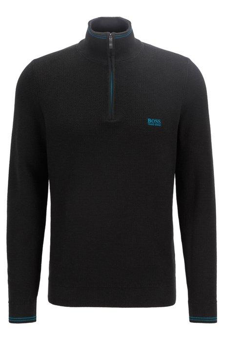 Regular-fit zip-neck sweater in structured cotton, Black