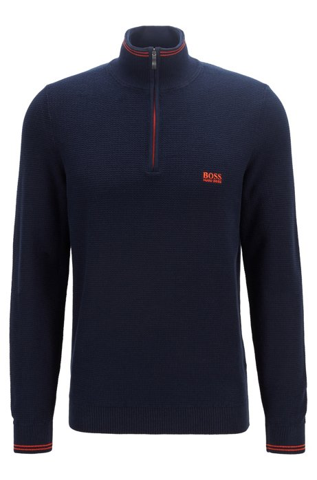 Regular-fit zip-neck sweater in structured cotton, Dark Blue