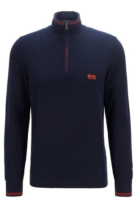 Regular-fit zip-neck sweater in structured cotton, Dark Blue