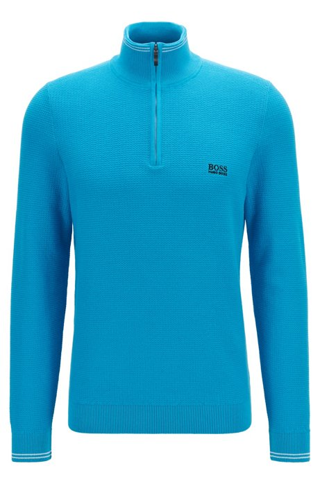 Regular-fit zip-neck sweater in structured cotton, Light Blue