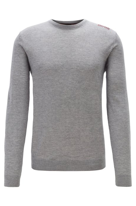 Golf sweater in water-repellent merino wool, Light Grey