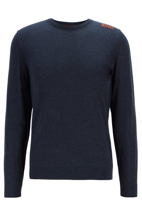 Golf sweater in water-repellent merino wool, Dark Blue