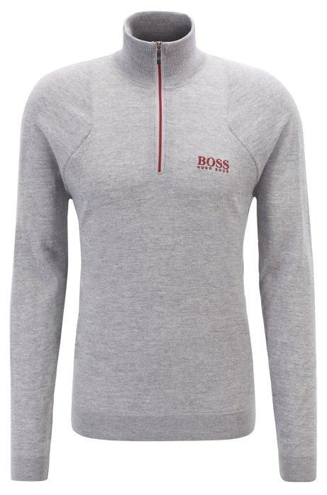 Zip-neck golf sweater in water-repellent merino wool, Light Grey