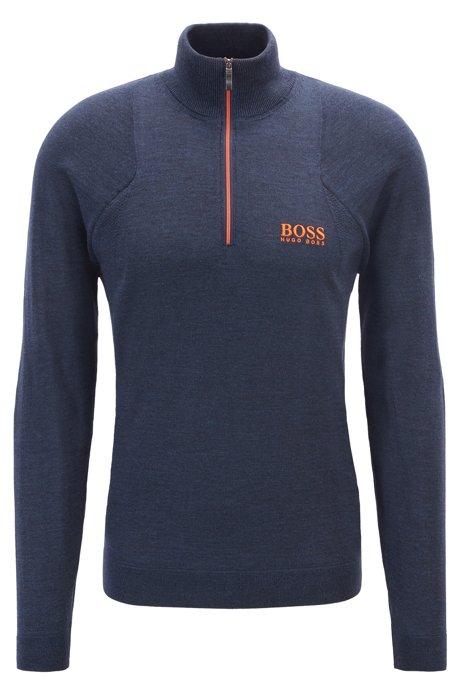 Zip-neck golf sweater in water-repellent merino wool, Blue