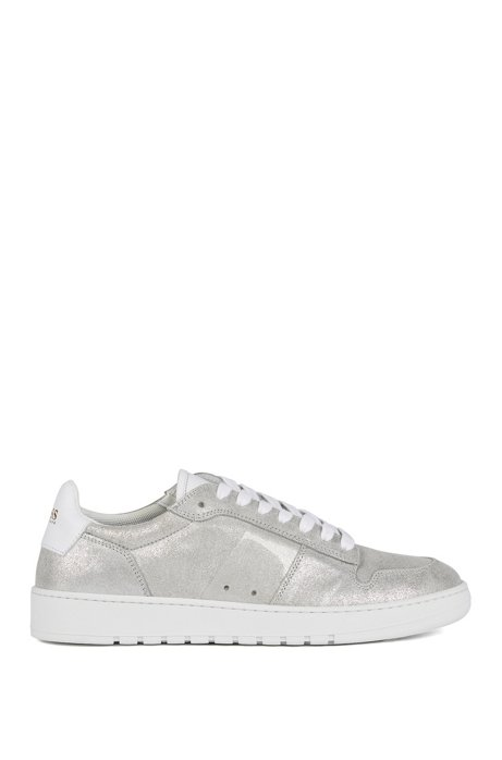 Low-top trainers in laminated calf leather, Silver