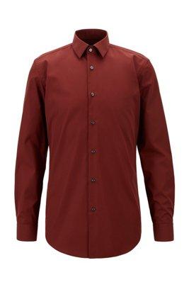 Slim-fit shirt in easy-iron cotton poplin, Brown