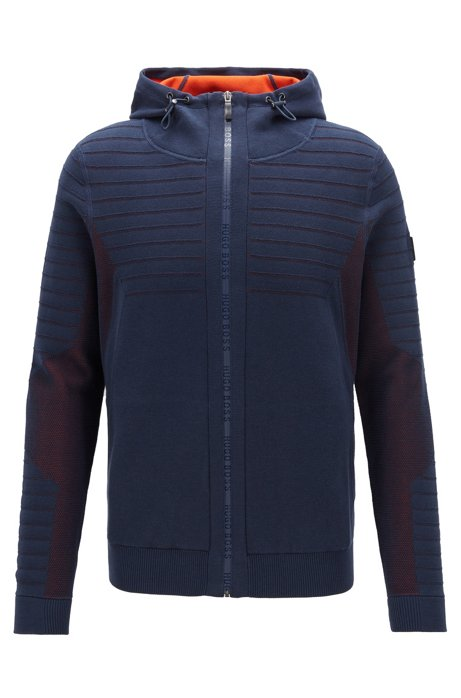 Hooded knitted jacket with logo zip and mesh details, Dark Blue
