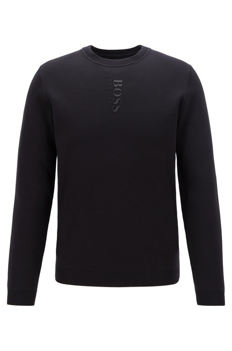 Reversible sweater with rubberised logo, Black