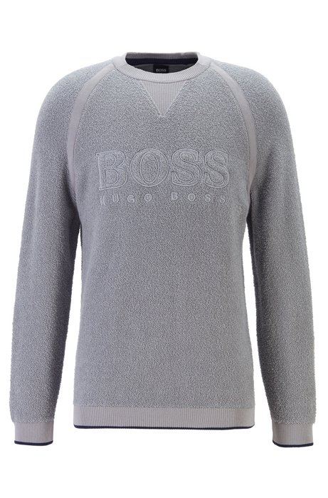 Logo-embroidered sweater in bouclé teddy structure, Light Grey