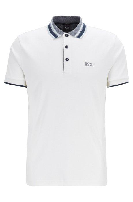 Interlock-cotton polo shirt with multicoloured trims, White