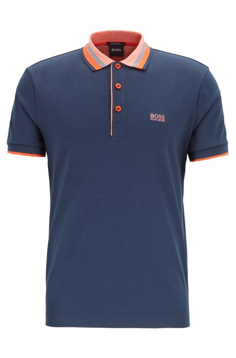 Interlock-cotton polo shirt with multicoloured trims, Dark Blue