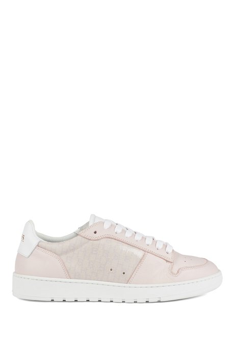 Italian-made trainers in leather with monogrammed panels, light pink