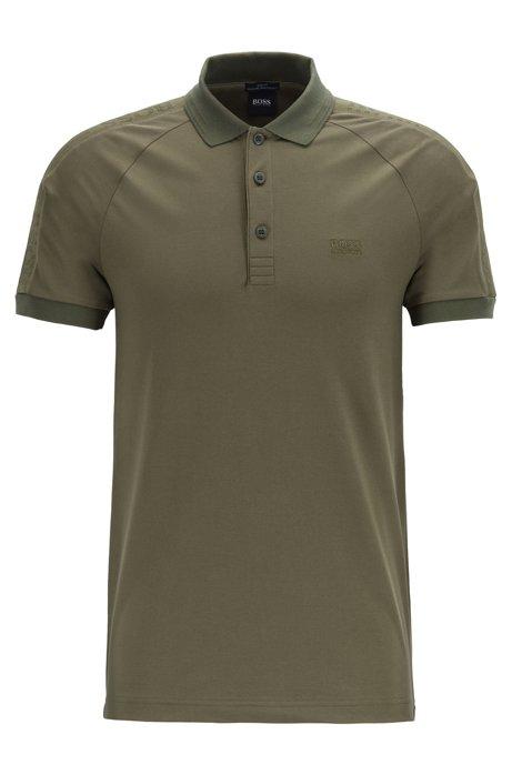 S.Café® slim-fit polo shirt with logo tape details, Dark Green