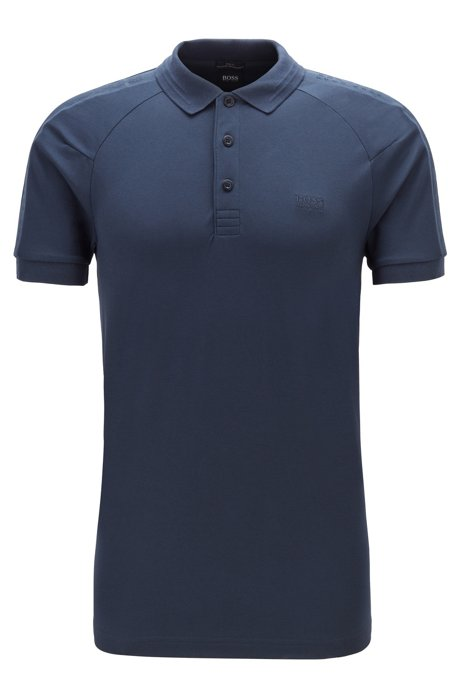 S.Café® slim-fit polo shirt with logo tape details, Dark Blue