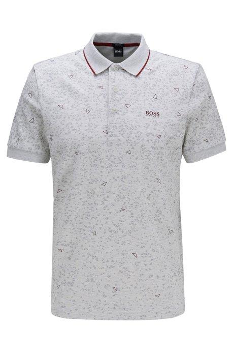Regular-fit polo shirt with triangular-graphic print , Light Grey