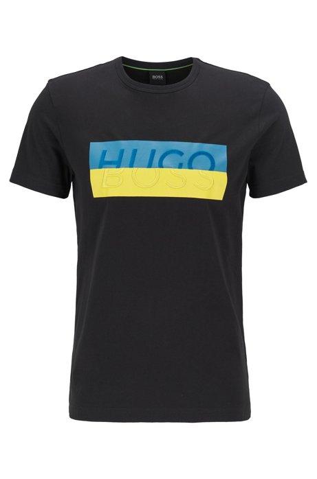T-Shirt aus Baumwolle mit Logo der neuen Saison, Schwarz