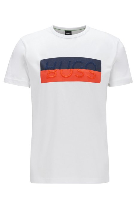 Cotton T-shirt with new-season logo, White