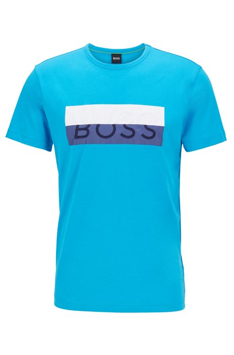 Cotton T-shirt with new-season logo, Blue