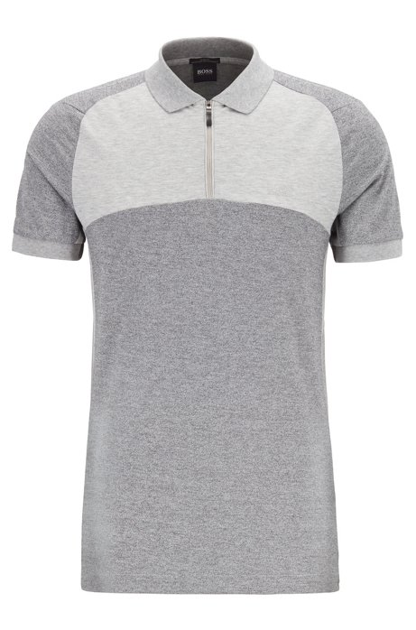 Slim-fit colour-block polo shirt with S.Café® , Grey
