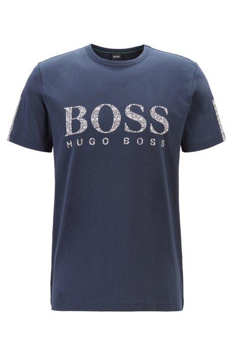 Regular-fit T-shirt in cotton with mouline logo, Dark Blue