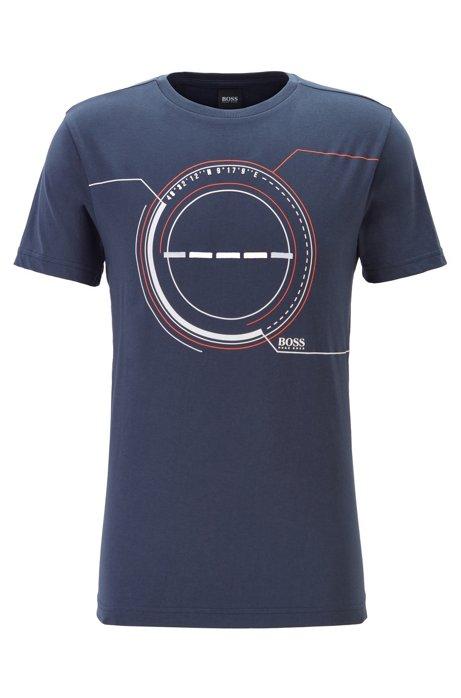 T-shirt en coton mélangé à motif artistique imprimé et brodé, Bleu foncé