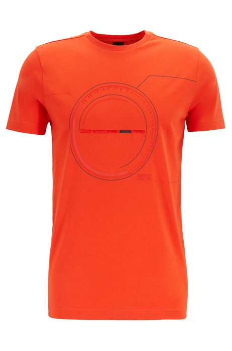 Cotton-blend T-shirt with printed and embroidered artwork, Orange