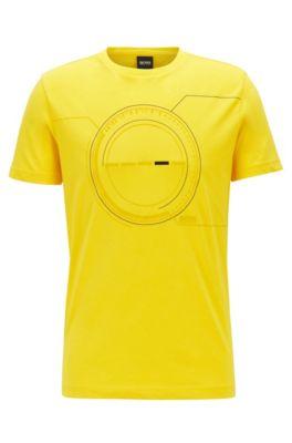 T-Shirt aus Baumwoll-Mix mit Print und Stickerei, Gelb