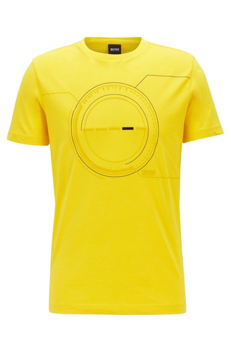 Cotton-blend T-shirt with printed and embroidered artwork, Yellow