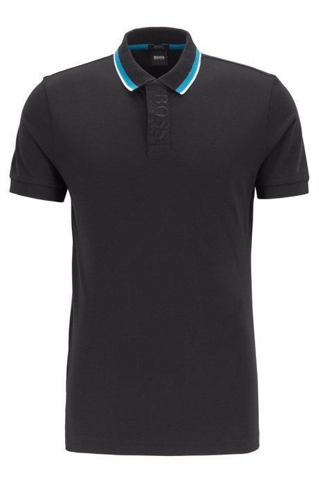 Regular-fit polo shirt with logo placket, Black
