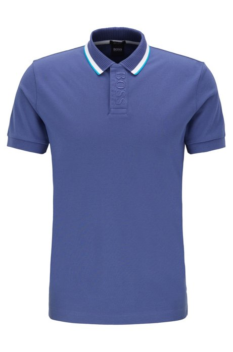 Regular-fit polo shirt with logo placket, Blue