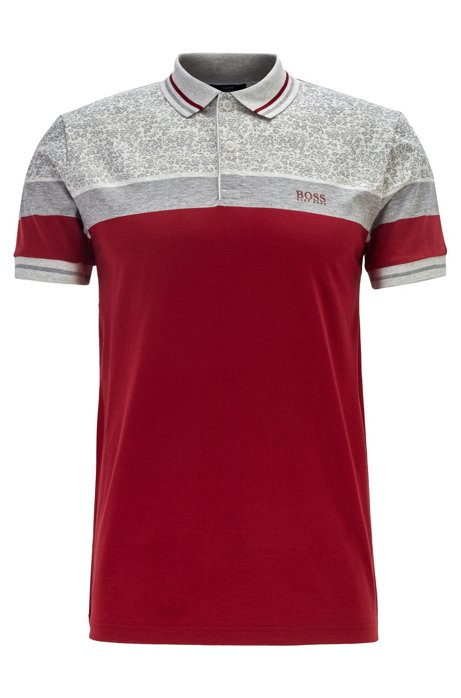Slim-fit polo shirt with colour-block stripes, Red
