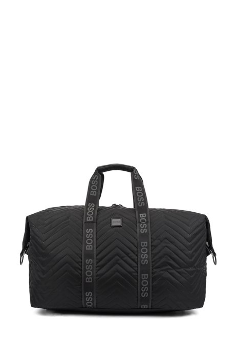 Nylon holdall with thermo-stitched quilting and detachable strap, Black