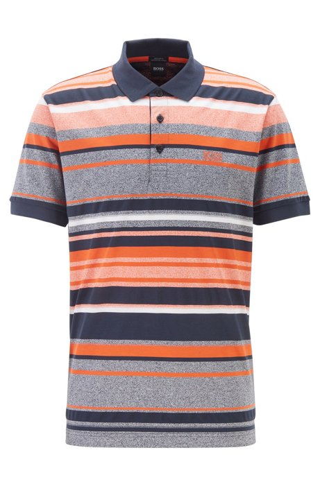 Regular-fit polo shirt with structured stripes, Dark Blue