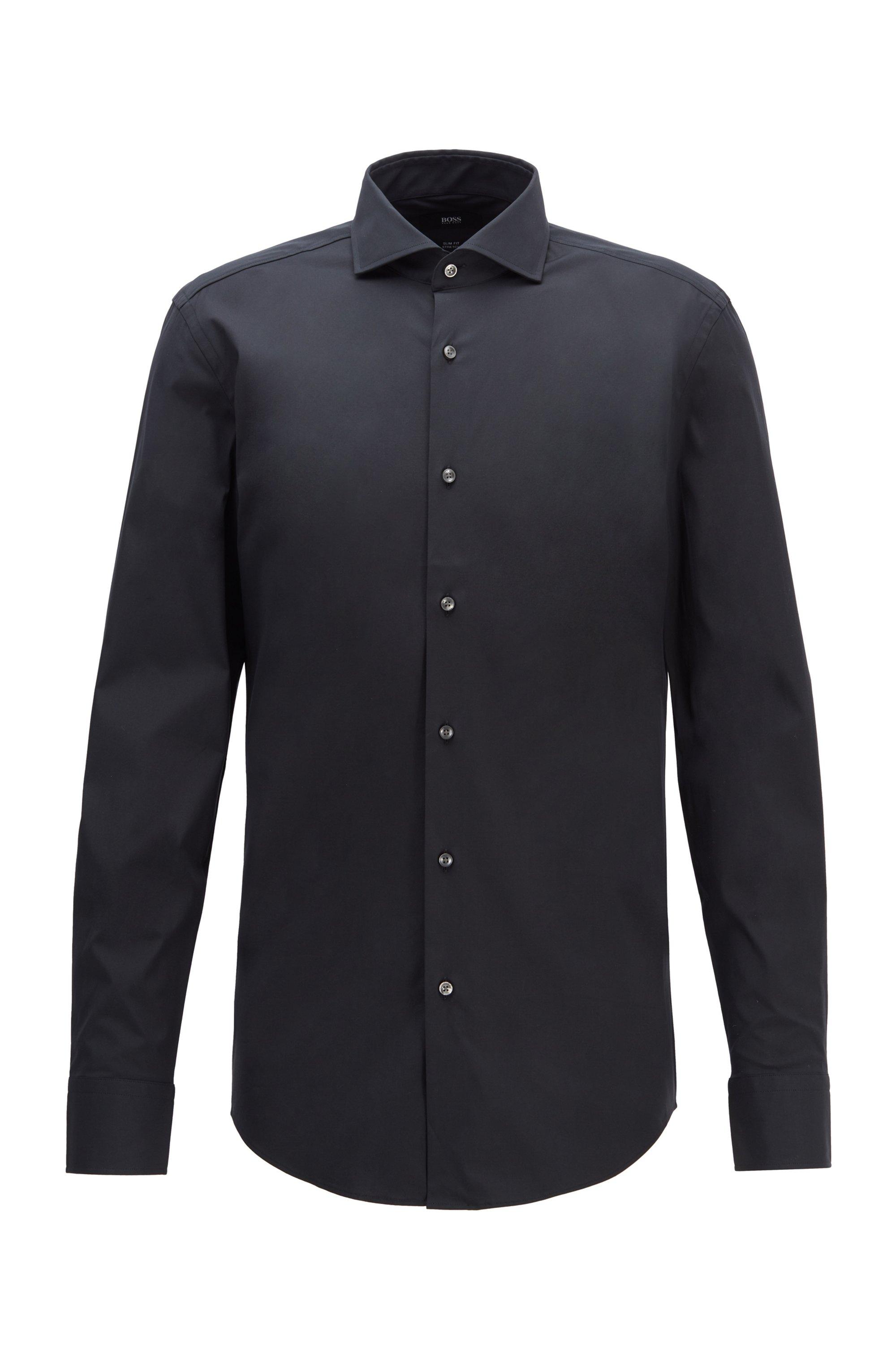 Slim-Fit Hemd aus elastischer Baumwoll-Popeline, Schwarz