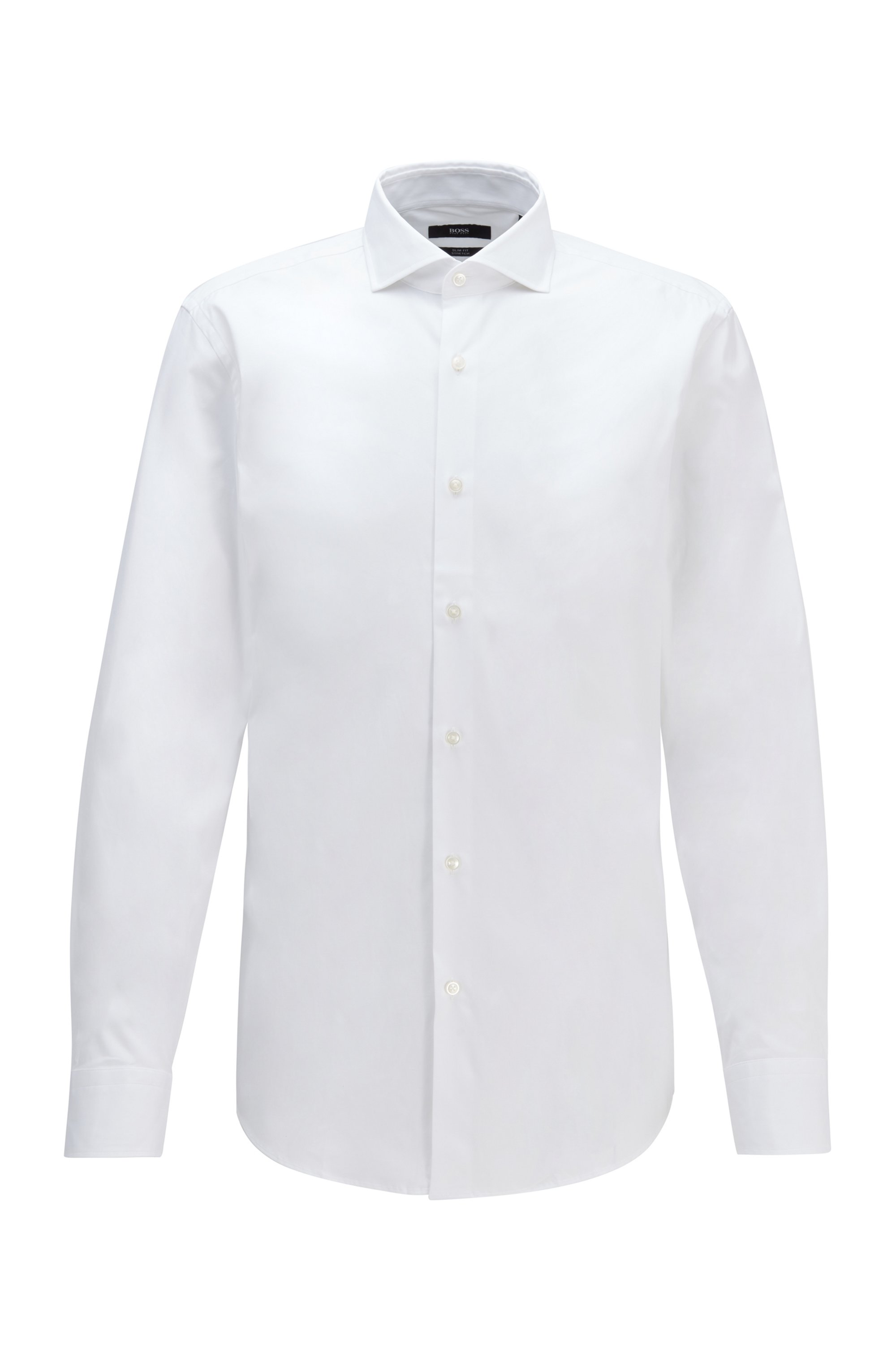 Camicia slim fit in popeline di cotone elasticizzato, Bianco