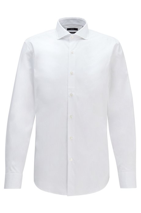 Slim-fit shirt in stretch-cotton poplin, White