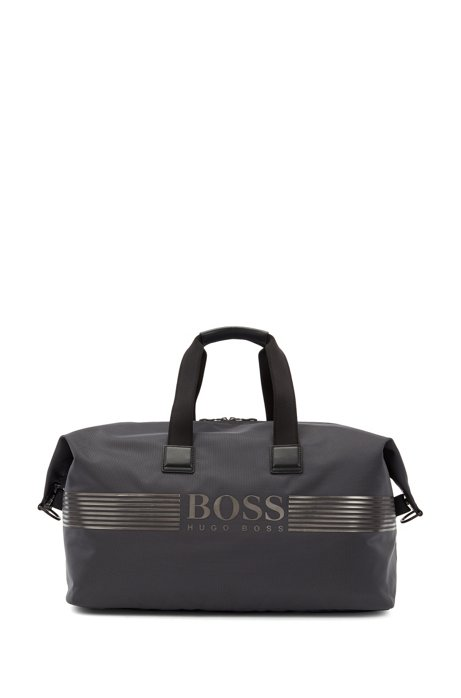 Logo-print holdall in structured nylon with shoe pocket, Dark Grey