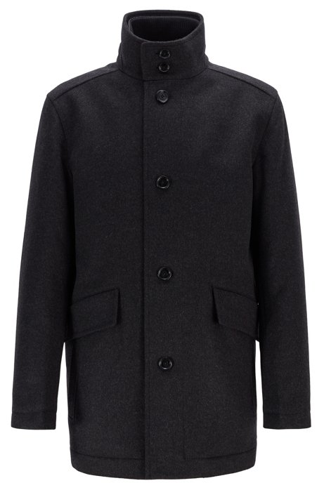 Funnel-neck car coat in virgin wool with cashmere, Anthracite