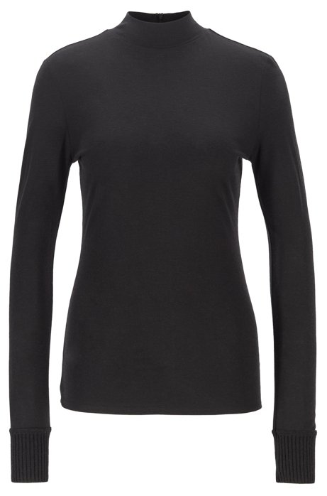 Slim-fit top with mock neck and knitted cuffs, Black
