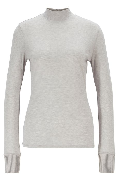 Slim-fit top with mock neck and knitted cuffs, Light Grey