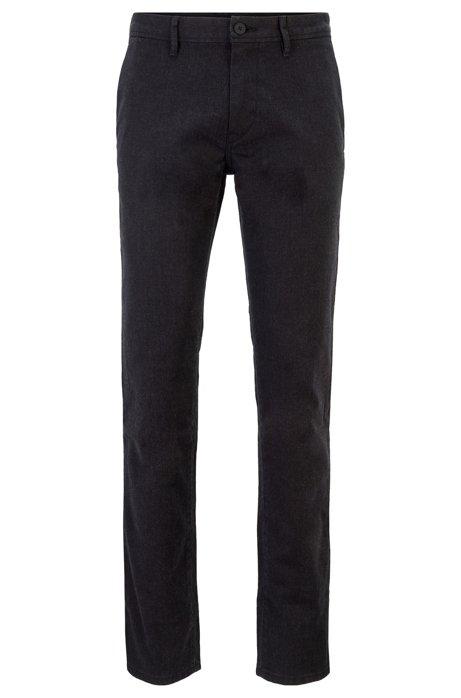 Pantalones slim fit en sarga elástica con llavero, Negro