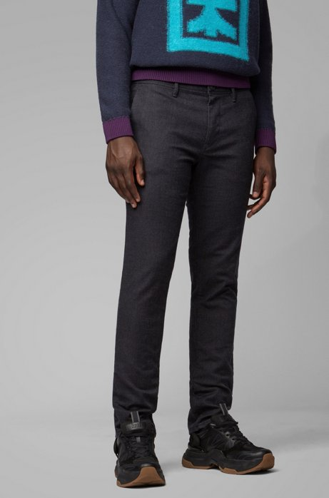 Slim-fit trousers in stretch twill with key ring, Black