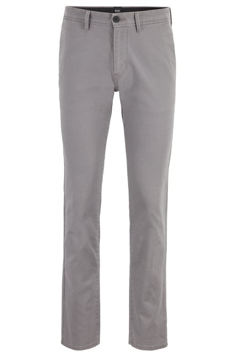 Slim-fit trousers in stretch twill with key ring, Grey