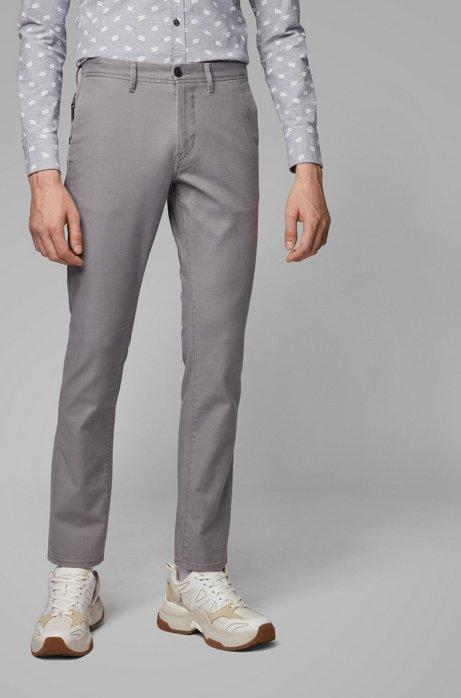 Slim-Fit Hose aus Stretch-Twill mit Schlüsselanhänger, Grau