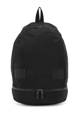 Sac à dos en nylon structuré avec illustration logo, Noir