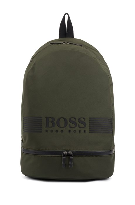 Backpack in structured nylon with logo artwork, Dark Green