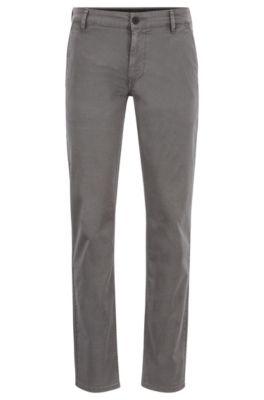 Pantalon Slim Fit en coton stretch surteint, Gris