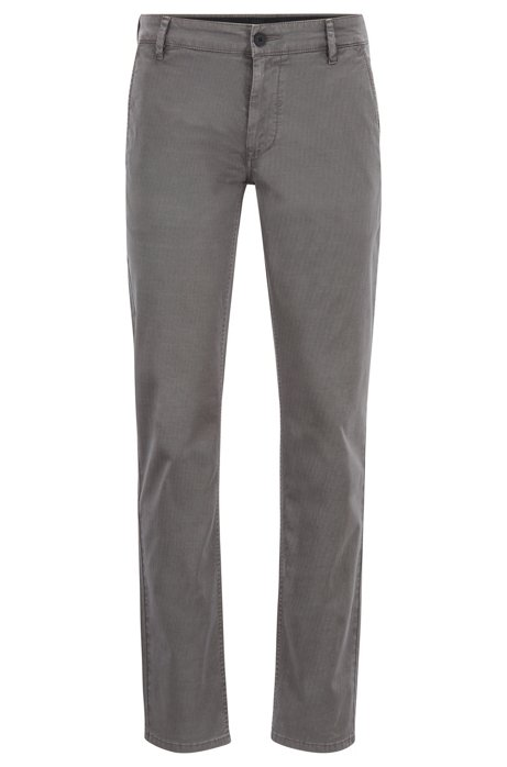 Pantalon Slim Fit en coton stretch surteint, Gris